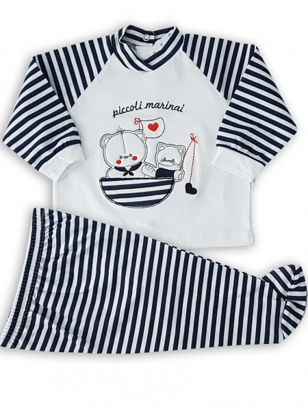 image baby outfit baby bear and kitten fishermen. Colour blue, size 0-1 month Blue Size 0-1 month