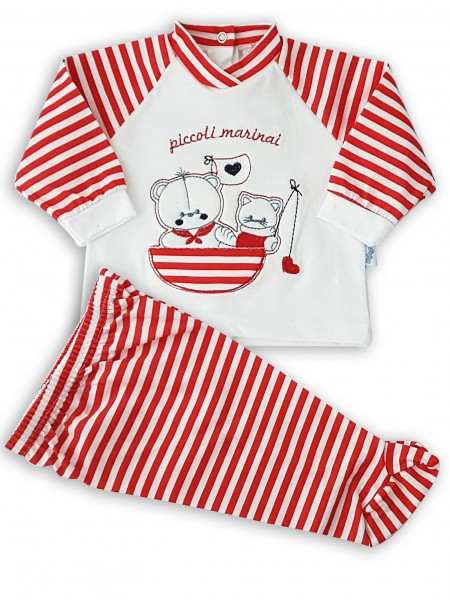 image baby outfit baby bear and kitten fishermen. Colour red, size 0-1 month Red Size 0-1 month