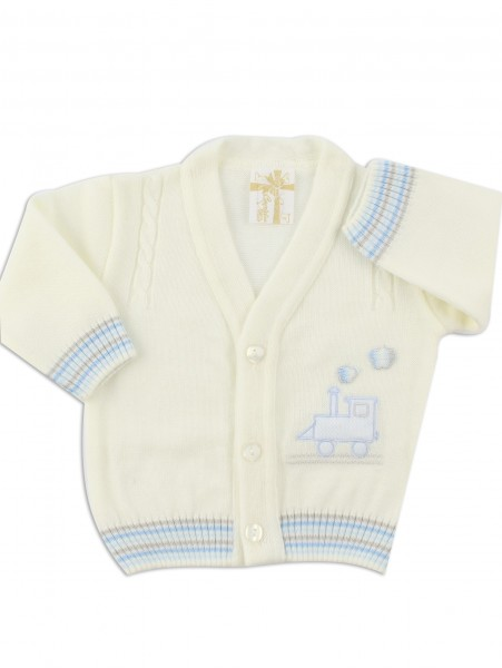 layette jacket mixed wool locomotive. Colour creamy white, size 0-1 month Creamy white Size 0-1 month