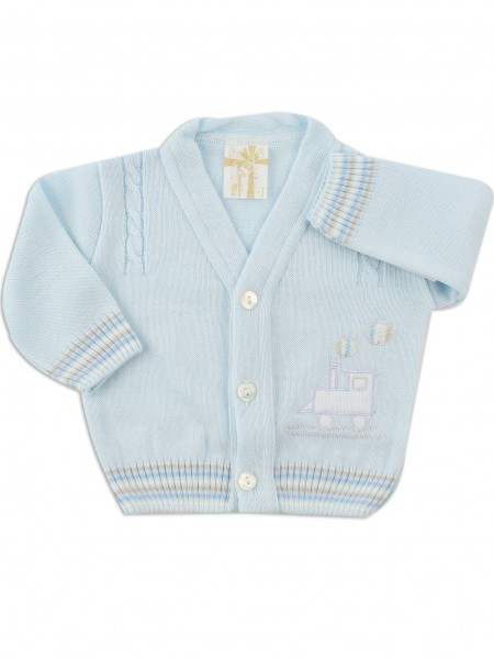 layette jacket mixed wool locomotive. Colour light blue, size 0-1 month Light blue Size 0-1 month