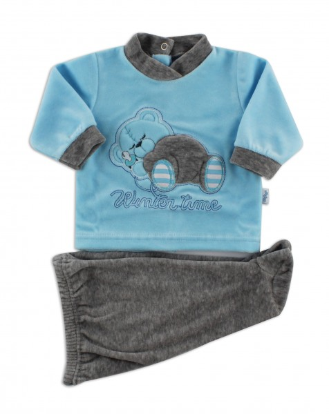 Picture baby footie outfit in chenille winter time. Colour turquoise, size 0-1 month Turquoise Size 0-1 month