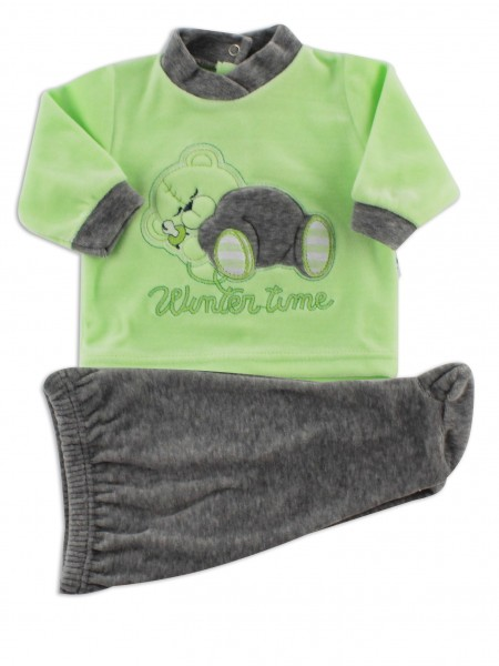 baby footie outfit in chenille winter time. Colour pistacchio green, size 0-1 month Pistacchio green Size 0-1 month