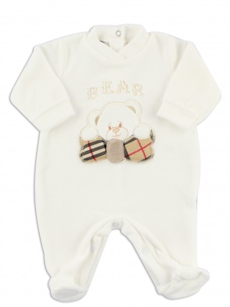 Image baby footie chenille Scottish bear. Colour creamy white, size 0-1 month Creamy white Size 0-1 month