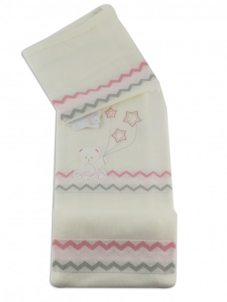 Image cover cradle in mixed baby bear wool with stars. Colour creamy white, one size Creamy white One size