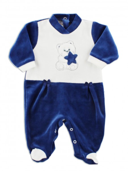 Picture baby footie in chenille baby bear and star. Colour blue, size 1-3 months Blue Size 1-3 months