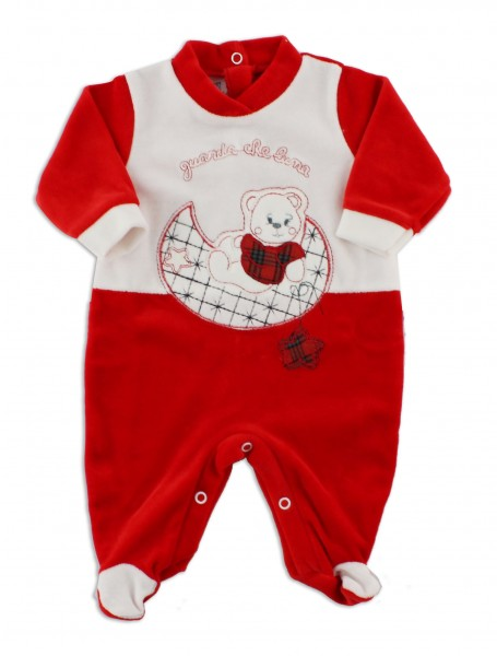 Picture baby footie in chenille baby bear looks at that moon. Colour red, size 3-6 months Red Size 3-6 months