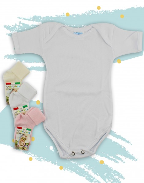 Underwear bodysuits and socks in cotton. Colour white, size 9-12 months White Size 9-12 months
