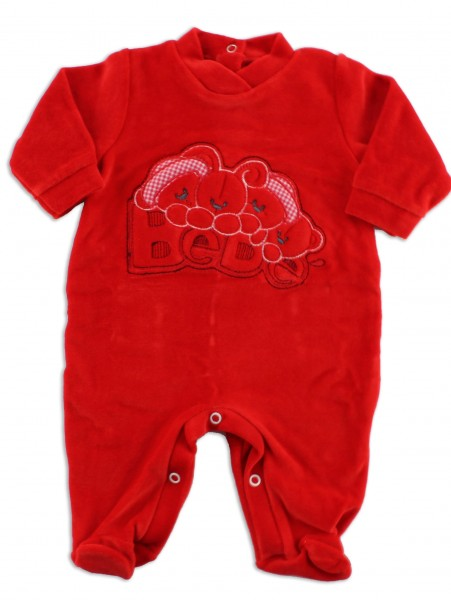 Baby footie red baby. Colour red, size 9-12 months Red Size 9-12 months