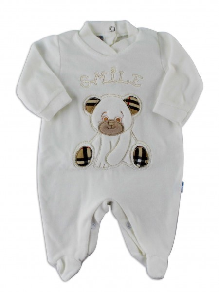 Image baby footie chenille Scottish smile. Colour creamy white, size 6-9 months Creamy white Size 6-9 months