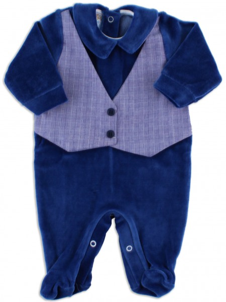 baby footie chenille woven vest. Colour blue, size first days Blue Size first days
