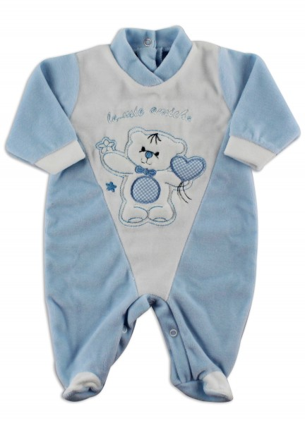 Picture baby footie chenille my friends. Colour light blue, size 0-1 month Light blue Size 0-1 month