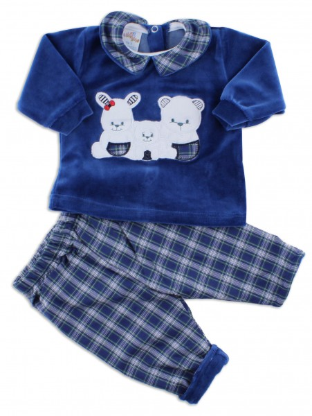 Picture baby footie outfit in chenille friends in partying. Colour blue, size 1-3 months Blue Size 1-3 months