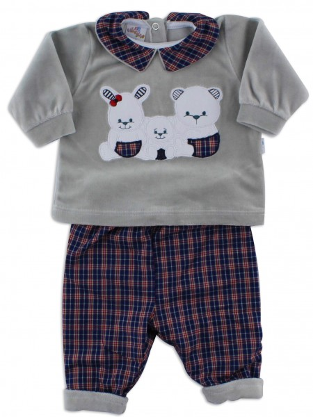 Picture baby footie outfit in chenille friends in partying. Colour grey, size 3-6 months Grey Size 3-6 months
