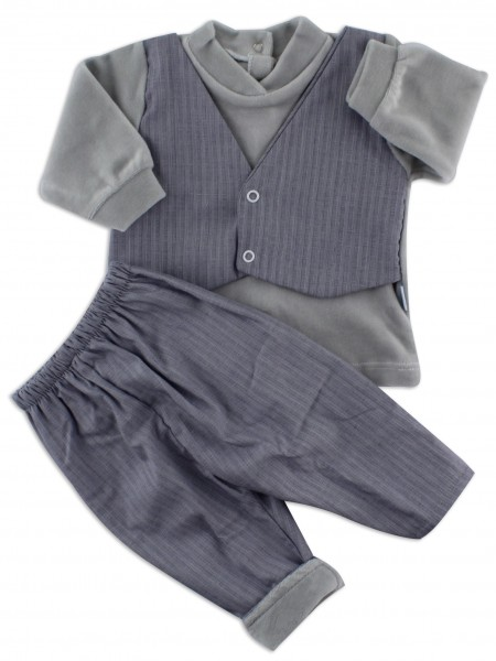 baby footie chenille outfit fabric vest. Colour grey, size 3-6 months Grey Size 3-6 months