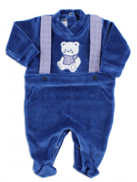 Picture baby footie in chenille baby bear elegant. Colour blue, size 1-3 months