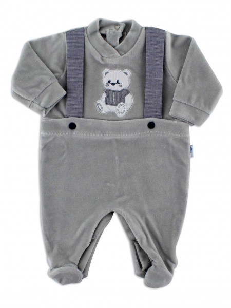 Picture baby footie in chenille baby bear elegant. Colour grey, size 3-6 months Grey Size 3-6 months