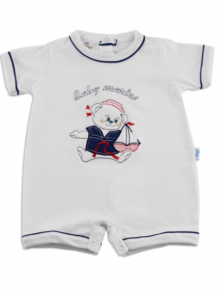 baby footie romper baby marins sailing. Colour white, size first days White Size first days