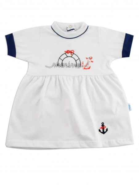 Picture baby footie marine cotton dress up. Colour white, size 0-1 month White Size 0-1 month