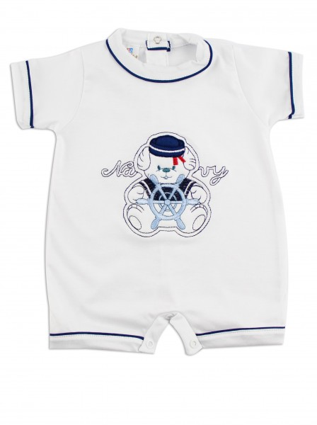 Image baby footie romper navy. Colour white, size 0-1 month White Size 0-1 month