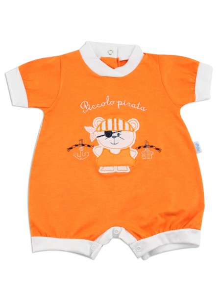 Picture baby footie romper little pirate. Colour orange, size 3-6 months Orange Size 3-6 months
