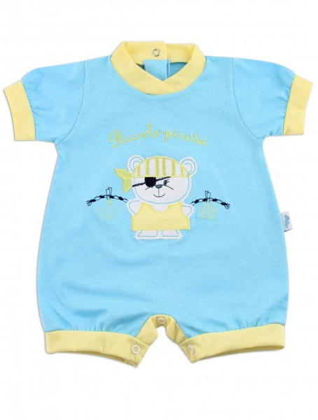 Picture baby footie romper little pirate. Colour turquoise, size 1-3 months Turquoise Size 1-3 months