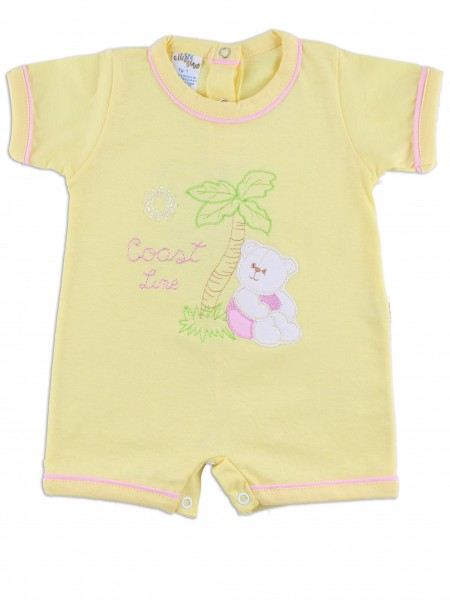 baby footie romper coast line. Colour yellow, size 0-1 month Yellow Size 0-1 month