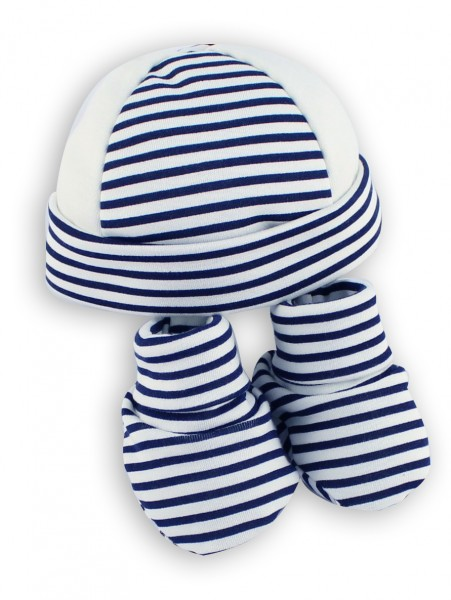 Image hat and shoes cotton stripes. Colour blue, one size Blue One size
