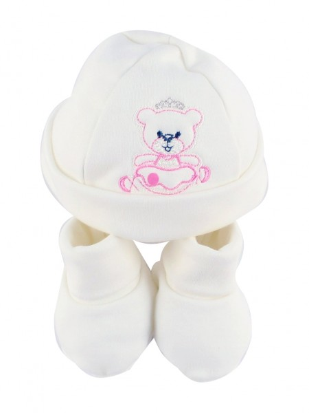 Image hat and shoes cotton ballerina. Colour pink, one size Pink One size