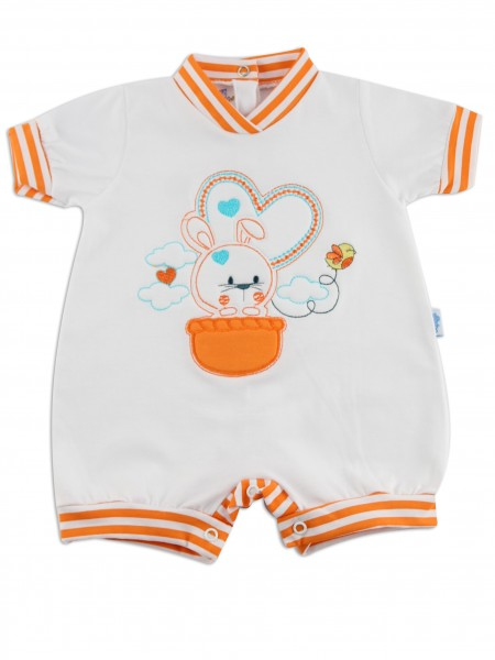 Picture baby footie romper bunny. Colour orange, size 1-3 months Orange Size 1-3 months