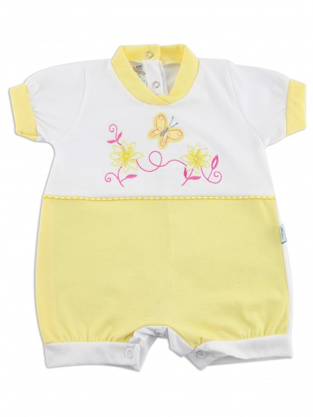 Image baby footie romper butterfly. Colour yellow, size 1-3 months Yellow Size 1-3 months