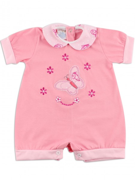Image baby footie romper butterfly. Colour coral pink, size 3-6 months Coral pink Size 3-6 months