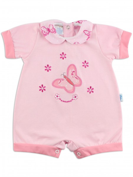 Image baby footie romper butterfly. Colour pink, size 1-3 months Pink Size 1-3 months