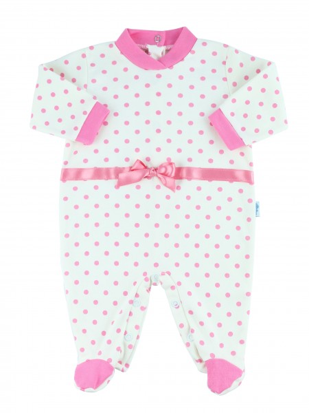 Image cotton baby footie interlock polka dots. Colour pink, size 6-9 months Pink Size 6-9 months