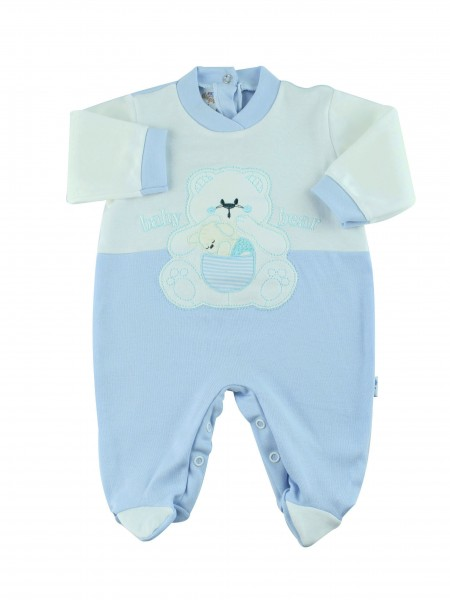 Image cotton baby footie interlock baby bear. Colour light blue, size 1-3 months Light blue Size 1-3 months