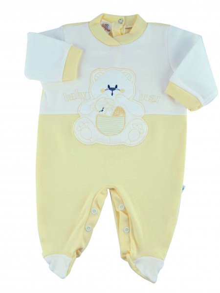 Image cotton baby footie interlock baby bear. Colour yellow, size 1-3 months Yellow Size 1-3 months