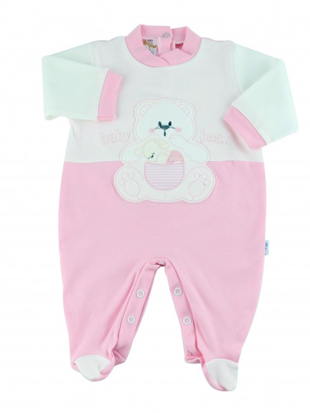 cotton baby footie interlock baby bear. Colour pink, size 1-3 months Pink Size 1-3 months