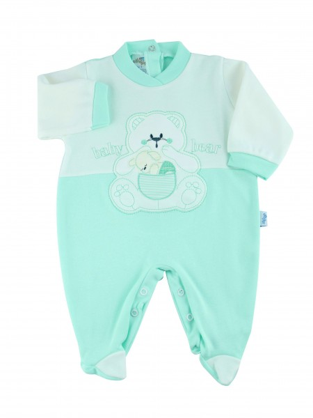 Image cotton baby footie interlock baby bear. Colour green, size 1-3 months Green Size 1-3 months