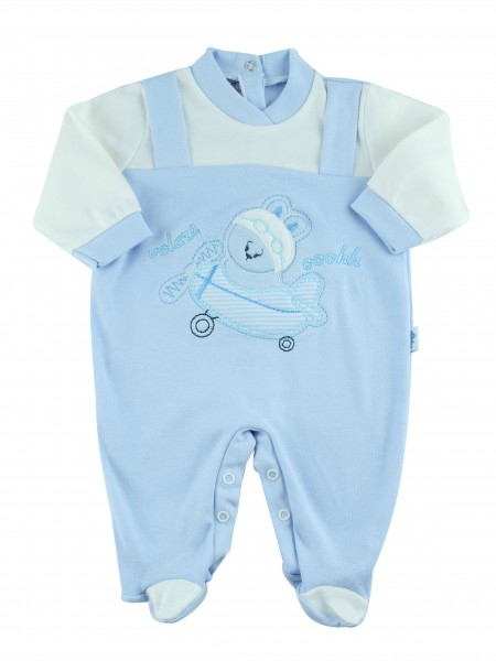 Image cotton baby footie interlock fly ooohhh. Colour light blue, size 3-6 months Light blue Size 3-6 months