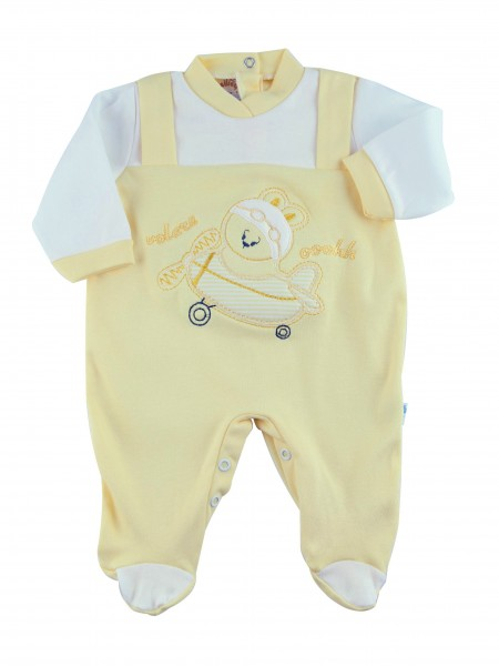 Image cotton baby footie interlock fly ooohhh. Colour yellow, size 9-12 months Yellow Size 9-12 months
