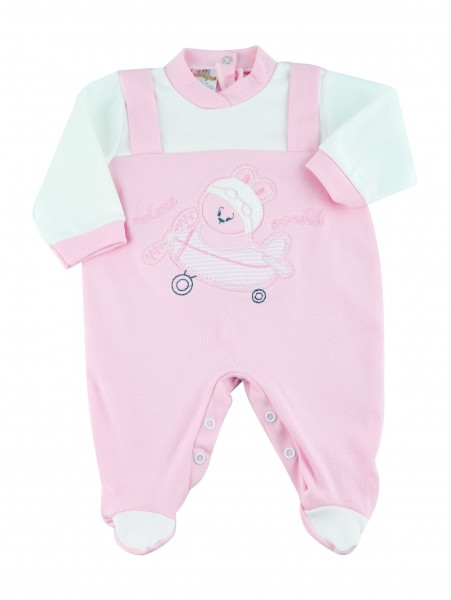 cotton baby footie interlock fly ooohhh. Colour pink, size 1-3 months Pink Size 1-3 months