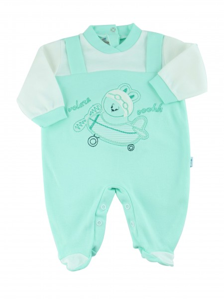 cotton baby footie interlock fly ooohhh. Colour green, size 9-12 months Green Size 9-12 months