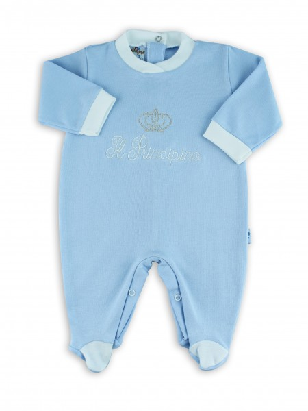 cotton baby footie interlock little princes. Colour light blue, size 3-6 months Light blue Size 3-6 months