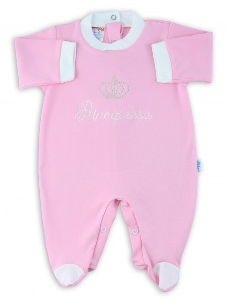 cotton baby footie interlock little princes. Colour pink, size 3-6 months Pink Size 3-6 months