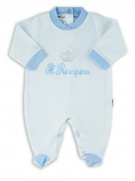 Picture baby footie interlock little cream princes. Colour light blue, size 1-3 months Light blue Size 1-3 months