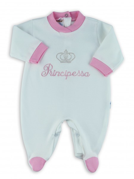 Picture baby footie interlock little cream princes. Colour pink, size 6-9 months Pink Size 6-9 months