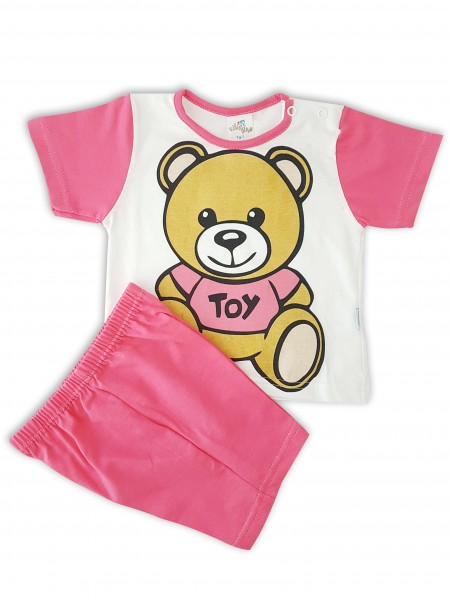 Picture baby footie cotton outfit jersey bear toy. Colour coral pink, size 3-6 months