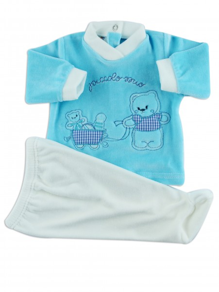 Two pieces baby outfit chenille smallomial. Colour turquoise, size 1-3 months