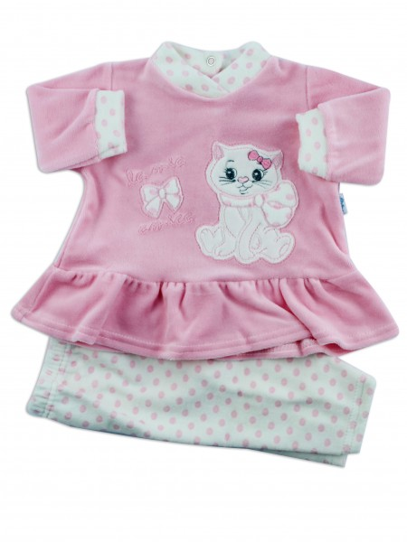Picture baby footie outfit in chenille kitten friend. Colour pink, size 3-6 months Pink Size 3-6 months