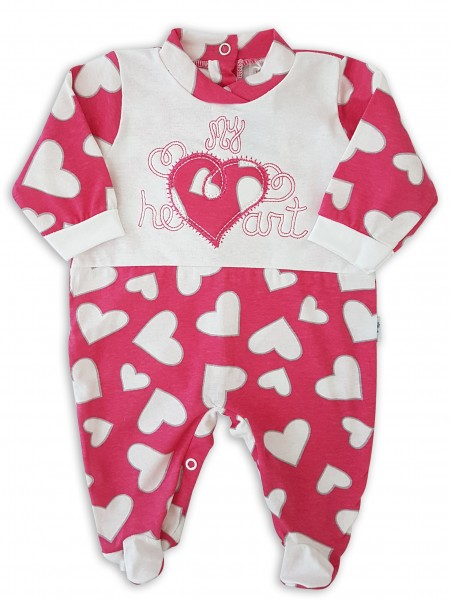 Image cotton baby footie jersey my heart. Colour coral pink, size 6-9 months