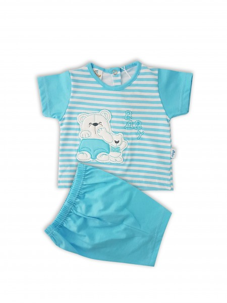 Picture baby footie cotton jersey outfit baby bears. Colour turquoise, size 6-9 months Turquoise Size 6-9 months